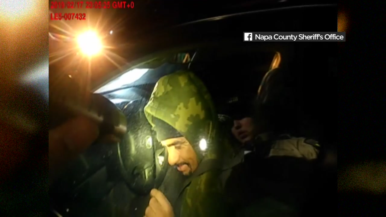 This bodycamera image shows the moment before an armed man opened fire on a Napa County sheriffs deputy on Sunday, Feb. 17, 2019.